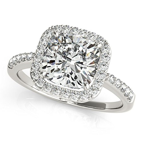 Cushion Cut, Square Diamond Halo Engagement Ring with Round Shank Accents in Platinum (2.00ct) (Cushion Cut Halo Diamond Engagement Ring In Platinum)