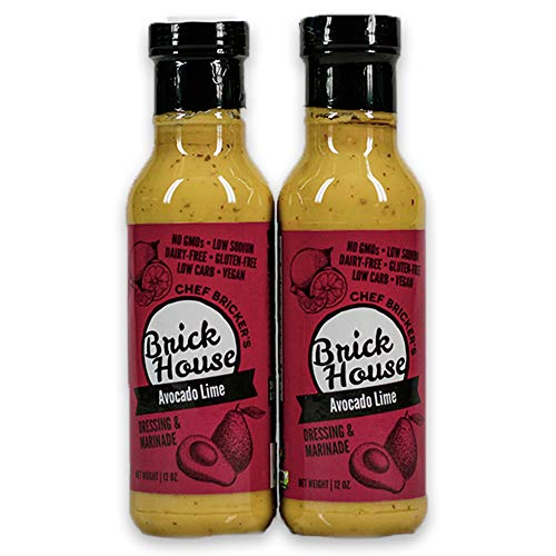 Brick House - Avocado Lime, artisan made, vegan low sodium/carb (keto), gluten/dairy/soy/nut free salad dressing and marinade (two-pack)