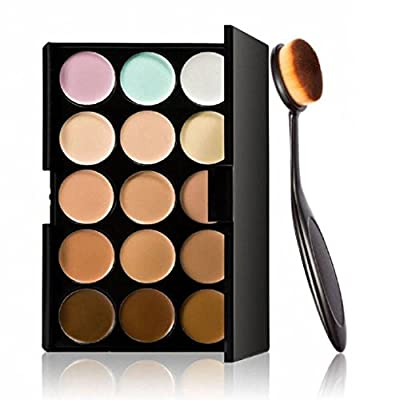 Laimeng,Cosmetic Makeup Blusher Toothbrush Curve Foundation Brush+15 Colors Concealer