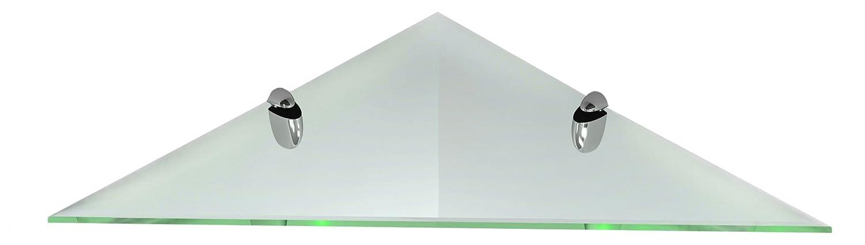 """Fab Glass and Mirror Corner Glass Shelf Kit with Triangle Chrome Brackets, 14"""" X 14"""""""