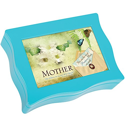 Mother Floral Butterfly Teal Blue Wavy Digital Music Box Plays Tune Everlasting God