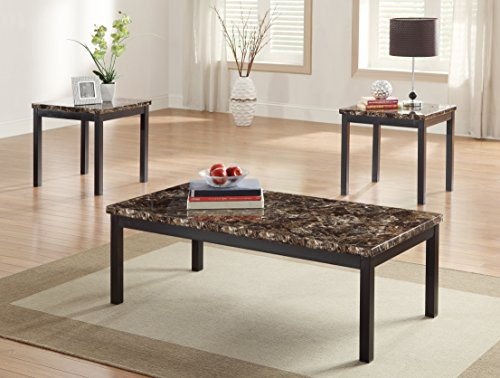 - Homelegance Tempe 3 Piece Coffee Table Set w/ Faux Marble Top