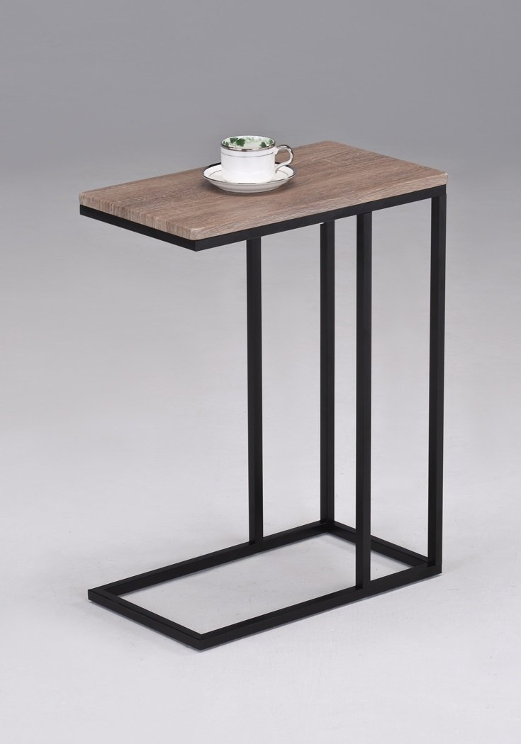 Reclaimed Wood Look Finish Chrome Snack Side End Table eHomeProducts SYNCHKG054506