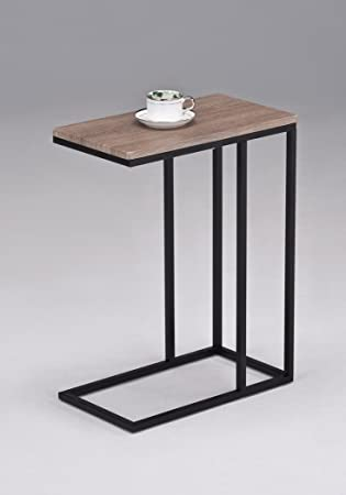 Reclaimed Wood Look Finish Chrome Snack Side End Table. Amazon com  Reclaimed Wood Look Finish Chrome Snack Side End Table