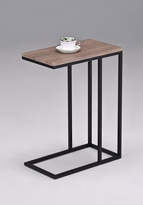 Preferred Amazon.com: Reclaimed Wood Look Finish Chrome Snack Side End Table  DA66