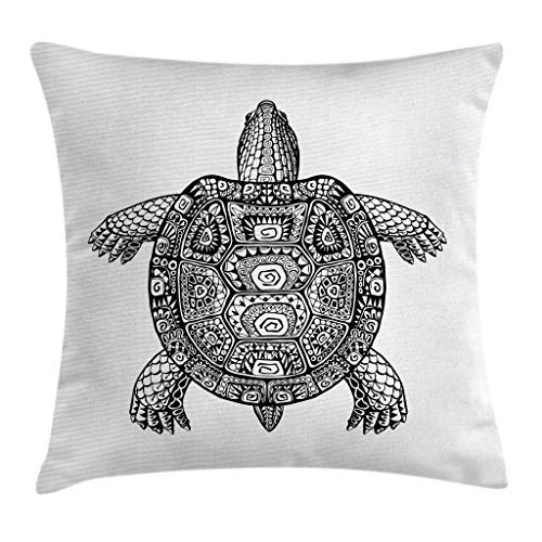 Ambesonne Turtle Throw Pillow Cushion Cover, Tribal Patterns on Turtle Illustration Monochrome Animal Themed Tortoise Print, Decorative Square Accent Pillow Case, 16 X 16 Inches, Black and White