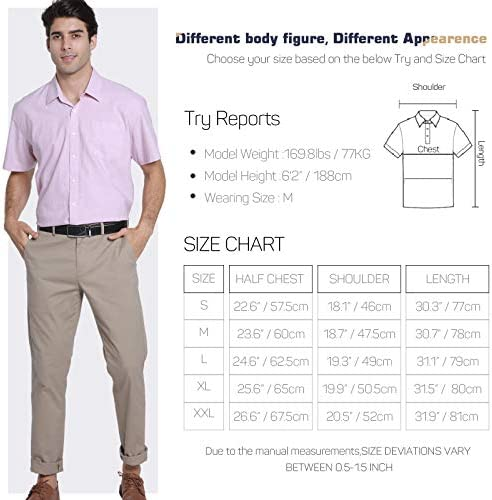 """51k%2BL906%2BQL. AC JCFL 100% Cotton Button Down Short Sleeve Oxford Shirt,Business Casual Dress Shirt for Men Relaxed Fit    JCFL continuously focuses on development of trendy cloth embracing the preferences as: """"Easy Look"""" Style, """"Washing Resistance"""" Quality, """"Comfy"""" Customer Experience and """"Relatively Lower"""" Cost Men's Oxford Shirt Material: 100% Cotton ¡ñ Machine Wash Low/ Hand Wash ¡ñ Tumble Dry Low Please refer to the following US SIZE CHART before purchasing S: Half Chest 22.6""""-----Shoulder 18.1""""---Length 30.3""""---Sleeve 8.66"""" M: Half Chest 23.6"""" -----Shoulder 18.7""""---Length 30.7""""---Sleeve 9.06"""" L: Half Chest 24.6""""-----Shoulder 19.3""""---Length 31.1""""---Sleeve 9.45"""" XL: Half Chest 25.6""""-----Shoulder 19.9""""---Length 31.5""""---Sleeve 9.84"""" XXL: Half Chest 26.6""""-----Shoulder 20.5""""---Length 31.9""""---Sleeve 10.24"""" Due to the manual measurements,SIZE DEVIATIONS VARY BETWEEN 0.5-1.5 INCH The color could be slightly different between on the screen and in practice. Thanks for your understanding!"""