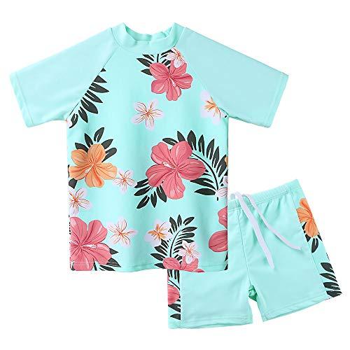 Girls Two Piece Swimsuit Floral UPF 50+ Rash Guard Set Kids Short Sleeve Swimwear - Girls Sleeve Short Guard Rash