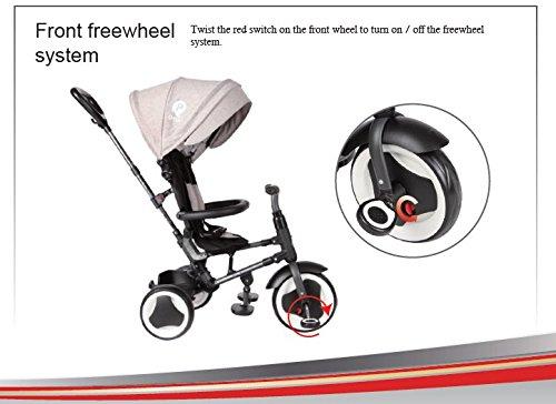 Triciclo Passeggino Rito Deluxe Bambino Bambina con Maniglia di Spinta e Tettino Blu