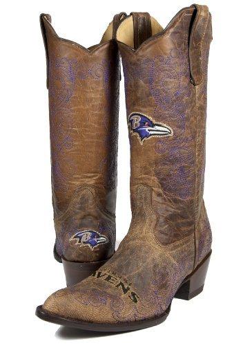 NFL Baltimore Ravens Women's Flyer Pull Up Western Boot Brown 9.5 [並行輸入品]   B07DX9C9RR