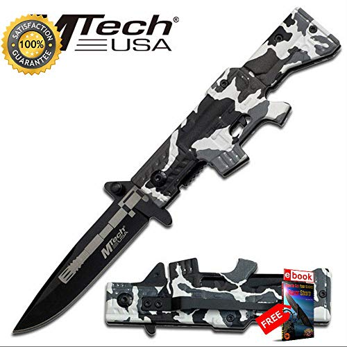 Mtech 4.5'' Winter White Camo Rifle Design Folding Sharp KNIFE with Pocket Clip Combat Tactical Knife + eBOOK by Moon Knives