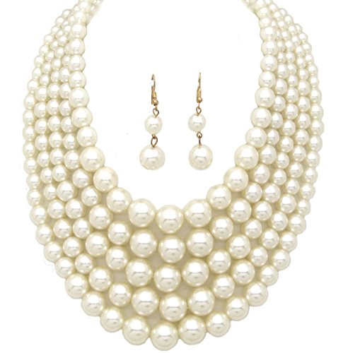 (Fashion 21 Women's Three or Five Multi-Strand Simulated Pearl Statement Necklace and Earrings Set (5 Layer - Cream))