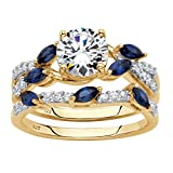 18K Gold over Sterling Silver Cubic Zirconia and Created Blue Sapphire Bridal Ring Set Size 7