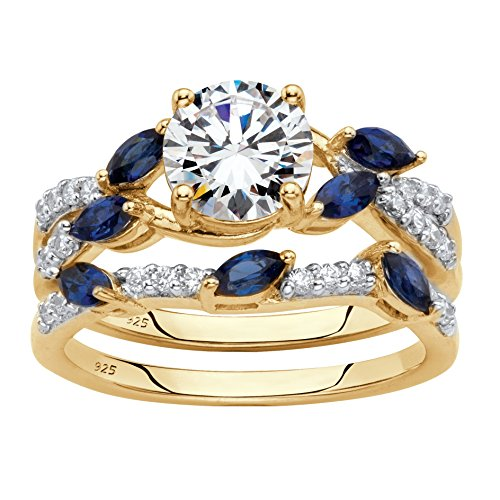 18K Gold over Sterling Silver Cubic Zirconia and Created Blue Sapphire Bridal Ring Set Size 6 ()