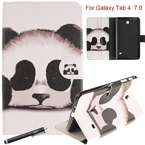 Galaxy Tab 4 7.0 Case, Newshine Magnetic Closure Stand Folio Cover with Card Slots/Cash Holder for Samsung Galaxy Tab 4 7.0 inch SM-T230/T231/T235 (Panda)