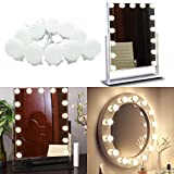 Hollywood Super Star Style Makeup Mirror Vanity LED Light Bulbs Kit for Dressing Table with Dimmer and Power Supply Plug in, Linkable and Flexible Strip, Mirror Not Included (10 Bulbs Warm white)