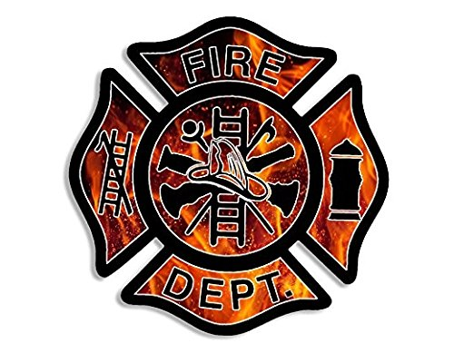 Pro Flames Stickers - FLAMES BG Fire Dept Maltese Cross Shaped Sticker (firefighter fireman)- Sticker Graphic Decal