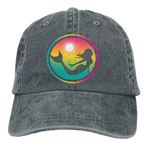 (Sun Mermaid Denim Hat Adjustable Men's Fitted Baseball Hats AsphaltOne)