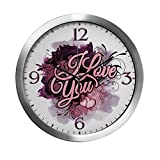 Modern Wall Clock I Love You Purple Floral Grunge