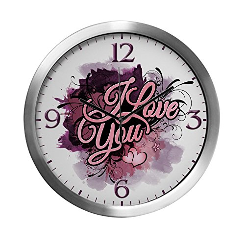 Modern Wall Clock I Love You Purple Floral Grunge by Truly Teague