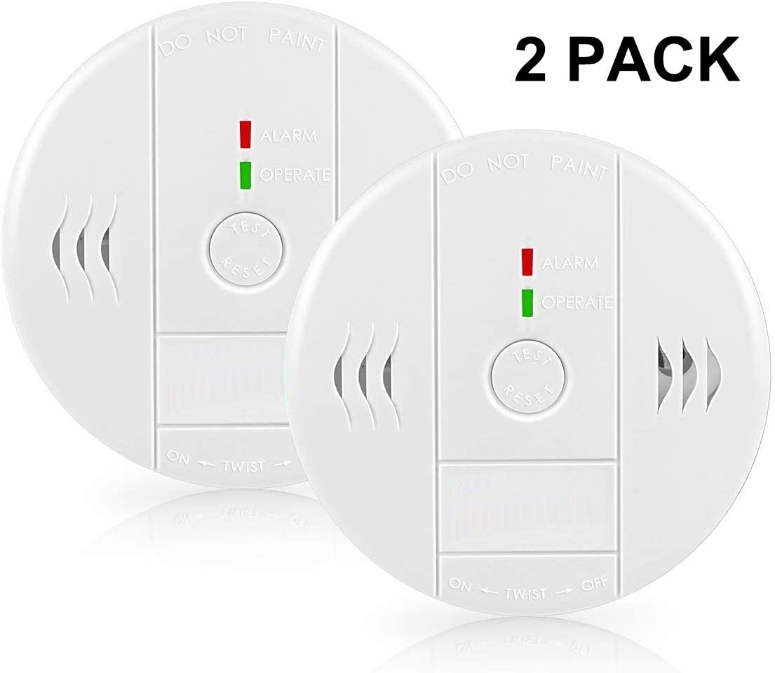 Smoke Alarm, Beep Voice Warning Alarm Clock for Travel Home Bedroom Kitchen Living Room Basement, Battery Operated, 2 Pack