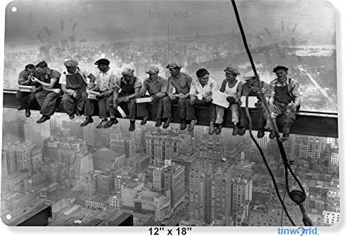 (Unoopler TIN Sign Empire State Building Workers Construction New York Metal Decor Tinworld A358 12
