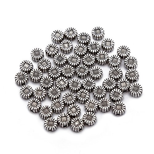 - BRCbeads Top Quality 5mm Sunflower Style #1 Tibetan Silver Flower Metal Spacer Beads 50pcs per Bag For Jewelry Making Findings