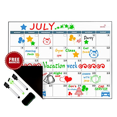 Magnetic Dry Erase Calendar Set by Ideal Plus | Monthly White Board Meal Planner for Refrigerator | Kitchen Grocery Organizer | New Stain Resistant PET Coating | Thickest and Strongest in the - Slim Cards Calendar