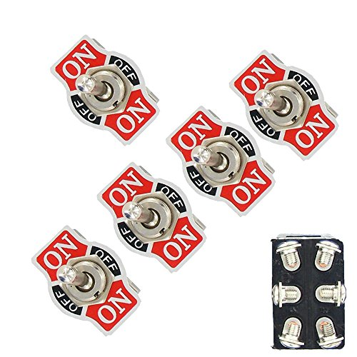 ESUPPORT Car Univeral Heavy Duty 20A 125V DPDT 6 Terminal ON/OFF/ON Rocker Toggle Switch Metal Pack of 5