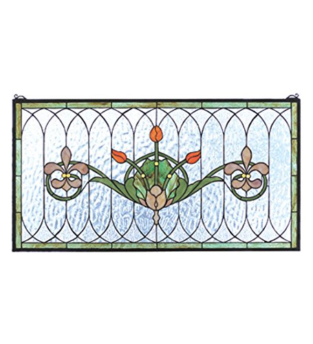 Tiffany Style Tulip & Fleurs Stained Glass Window Panel