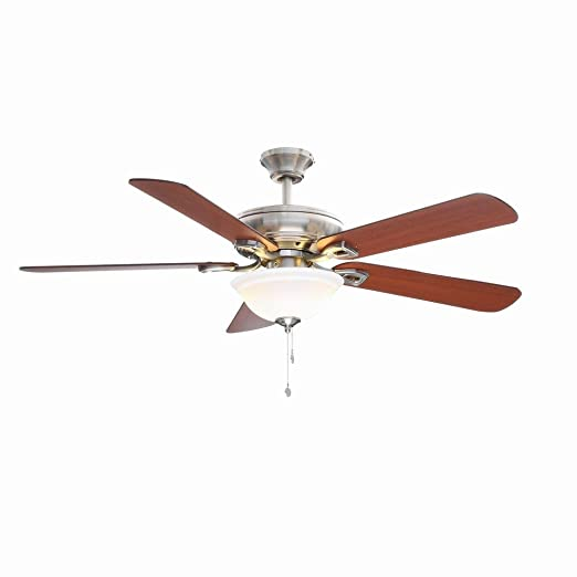 Hampton bay rothley 52 in indoor brushed nickel ceiling fan with indoor brushed nickel ceiling fan with shatter resistant light shade amazon mozeypictures Images
