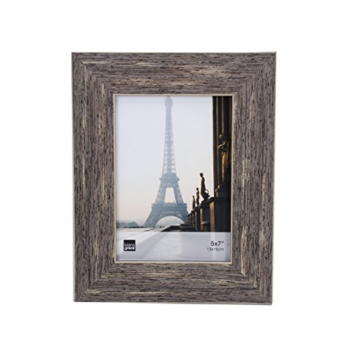 Kiera Grace Emery Picture Frame, 5 by 7 Inch, Weathered Grey Reclaimed Wood Finish (Picture Frames Reclaimed Wood)