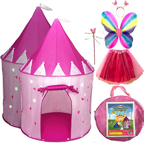 5pc Princess Castle Girls Play Tent w/ Glow in the Dark Stars & Butterfly Fairy Dress Up Costume - Childrens Play Tents for Indoor & Outdoor Use + Carrying (Quick And Easy Costumes For Dogs)