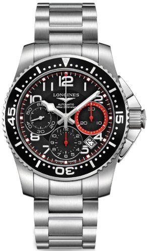 Longines Hydroconquest Chronograph Black Dial Stainless Steel Mens Watch L36964536