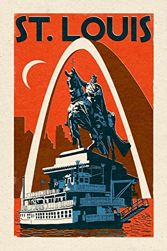 St. Louis, Missouri - Woodblock (16x24 Giclee Gallery Print, Wall Decor Travel Poster)