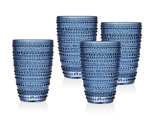 Godinger Highball Glasses, Tall Beverage Glass Cups – Lumina Blue, Set of 4