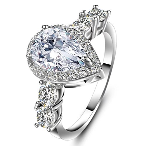 Women's Sparkle Teardrop CZ Solitaire Engagement Ring Halo Pear Cut Created 4 Carat Diamond Eternity Wedding Rings Size 7