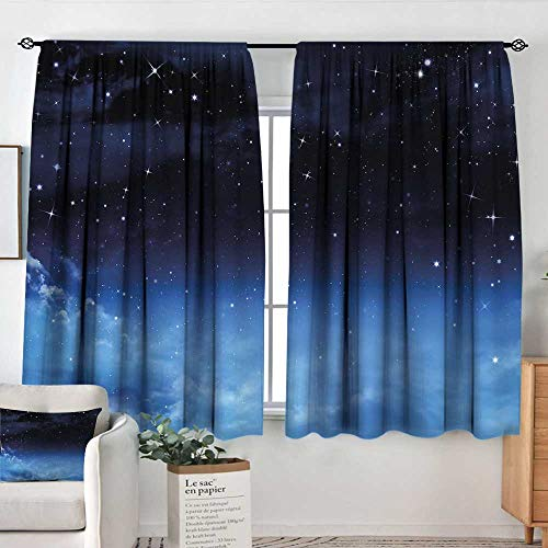 Elliot Dorothy Rod Pocket Curtains Night Sky,Ombre Colored Nebula Space Clouds and Dot Like Stars Image,Dark Blue Turquoise and White,Insulating Room Darkening Blackout Drapes for Bedroom 55