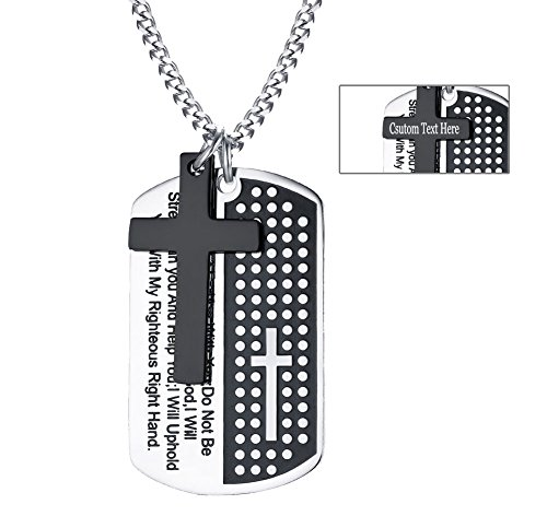 - Engravable Mens Stainless Steel Dog tag Cross Pendant Necklace 41:10 Bible Verse Engraved Dog Tag Pendant