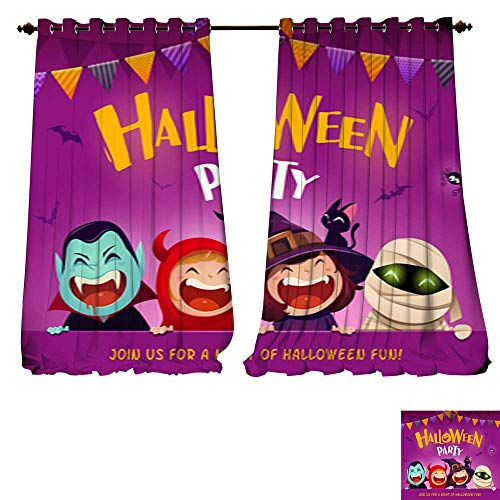 DESPKON-HOME Blackout Grommet Curtains Halloween Party Group of Kids in Halloween Costume with Big Signboard 3 Layers High Density - Noise Reduction Fabric-W96 x L84/Pair -