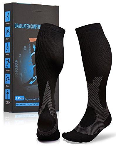Atist Compression Socks for Women & Men, 20-30 mmHg, Runners Cycling Biking, Helps Calves, Foot & Heel Pain Relief, Black, L/XL
