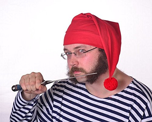 Mr Smee Costumes (Red Stocking Cap with Large Pompom Cotton Knit)
