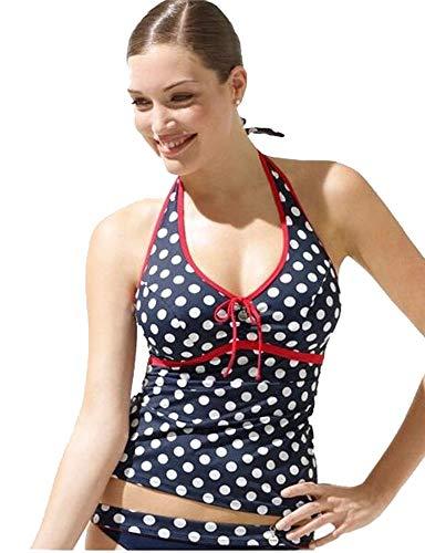 Panache Women's Monroe Underwire Polka Dot Halter Tankini Plus-Size Swim Top #SW0409 (Navy/Spot UK - Tankini Panache Underwire