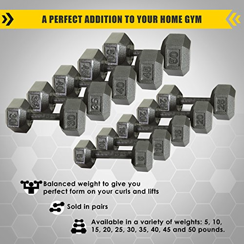 Cast Iron Hex Dumbbells by Harvil with Corrosion-Resistant Finish - Available in 5 lbs, 10 lbs, 15 lbs, 25 lbs, 30 lbs, 35 lbs, 40 lbs, 45 lbs, 50 lbs. Sold in Pairs.