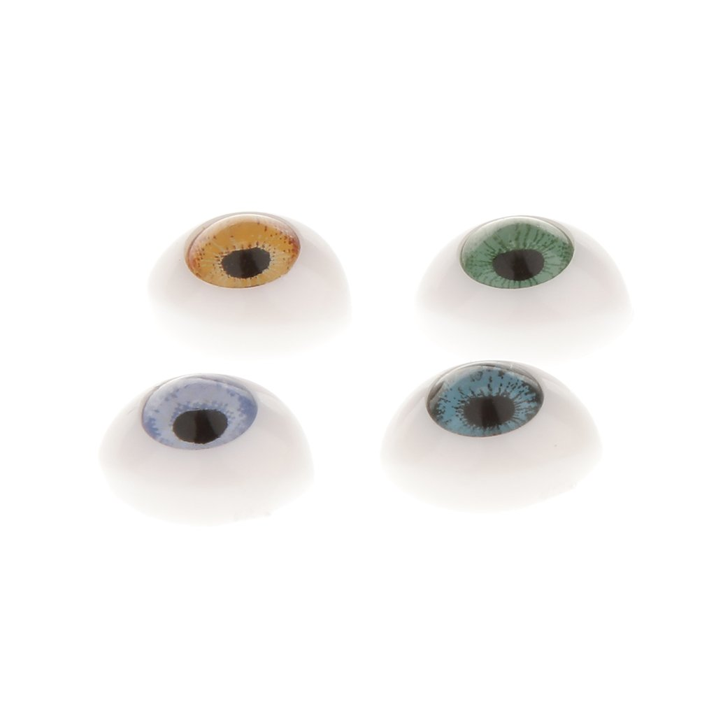 Baoblaze 8 Pairs Oval Flat Realistic Plastic Eyes for Mask Doll Making Supplies 5mm 6mm