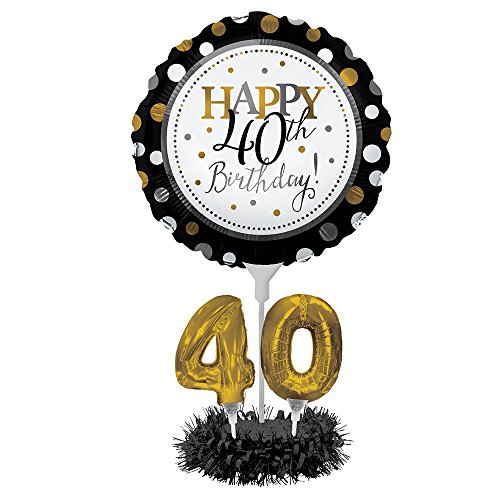 Happy 40th Birthday Balloon Centerpiece Black and Gold for Milestone Birthday