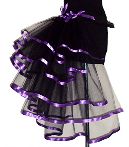 Mendove Women's Costumes Layered Organza Bustle Skirt Black with Purple Edge