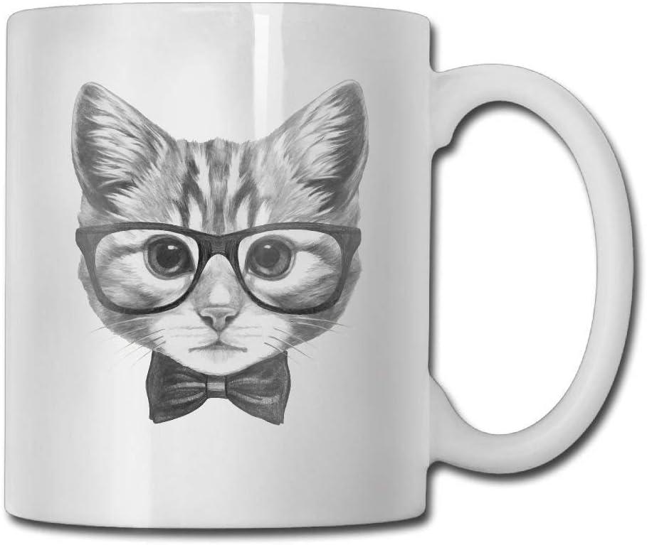 Taza de café divertida regalo gato con gafas y pajarita especial. Cumpleaños hombres y mujeres, mamá, papá, hermana, novio