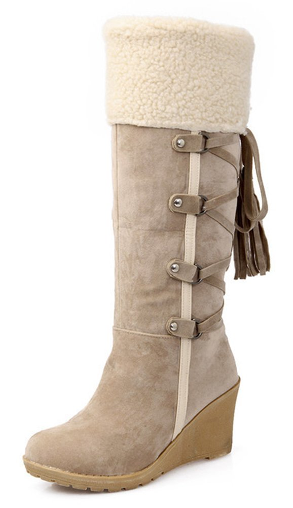 Aisun Women's Warm Comfy Fringed Lace Up Strappy Round Toe Pull On Mid Heel Wedge Under The Knee High Snow Boots (Beige, 7.5 B(M) US)