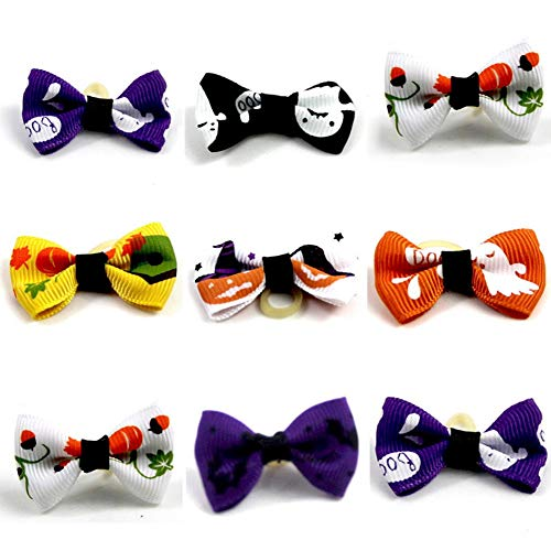 Tutuba Halloween Dog Bows,10 Pcs Dog Rubber Bands Hair Bowknot Headwear with Rubber Bands Pet Hair Accessories(Random Color)]()